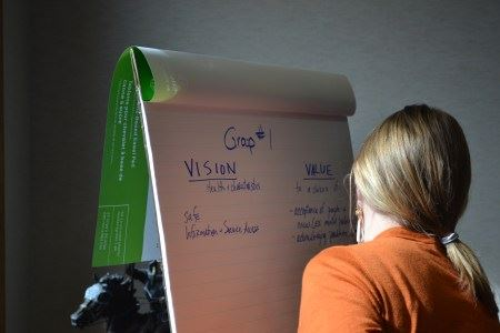 women looking at a flip chart